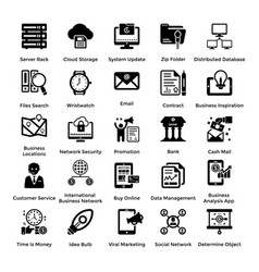 collection of business and management glyph icons vector image vector image