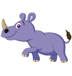 Cute rhino cartoon vector image vector image