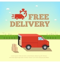 Delivery service concept Truck van for fast shipp vector image vector image