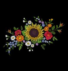 Embroidery flower bouquet sunflower dog rose briar vector