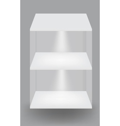 Empty white shelves on light grey background vector image