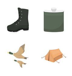 Flying ducks flask boots tenthunting set vector