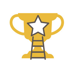 golden award cup with star and ladder vector image