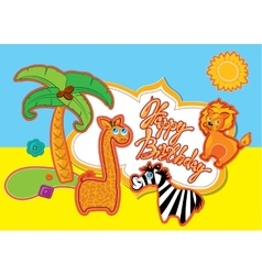 Happy birthday card with cartoon animals and vector