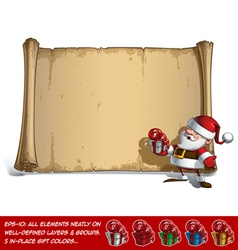 Happy santa scroll holding a small gift vector