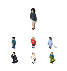 Isometric people set of housemaid investor girl vector