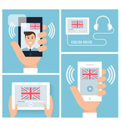 Learning english with mobile technology and device vector