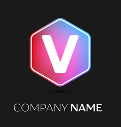 Letter v logo symbol in colorful hexagonal vector