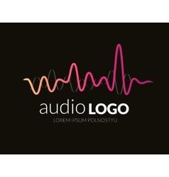 Logo template sound wave studio music dj audio vector image