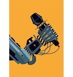 Mechanic robot hand with a microphone rock music vector