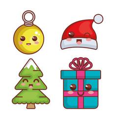 merry christmas kawaii characters vector image