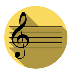 Music violin clef sign g-clef flat black vector