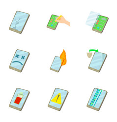 Phone upgrade icons set cartoon style vector