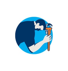 Plumber bowing holding monkey wrench circle retro vector