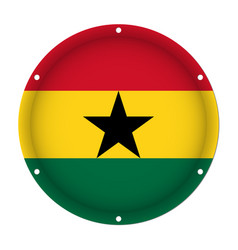 Round metallic flag of ghana with screw holes vector