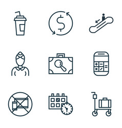 set of 9 airport icons includes hostess drink vector image