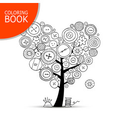 Sewing tree with buttons coloring book page vector