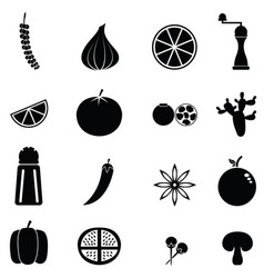spices icon set vector image vector image
