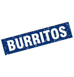 square grunge blue burritos stamp vector image vector image