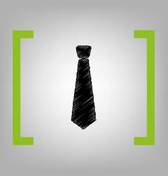 Tie sign black scribble icon vector