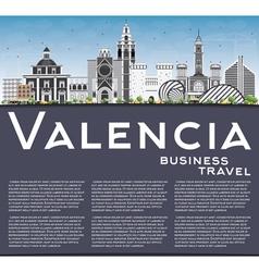 Valencia skyline with gray buildings vector