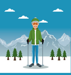 winter mountain landscape poster with scaler guy vector image vector image