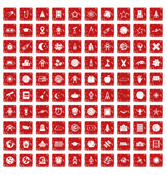 100 astronomy icons set grunge red vector