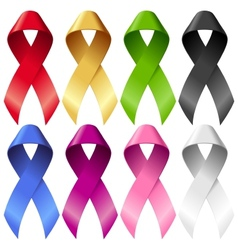 Breast ribbons set vector