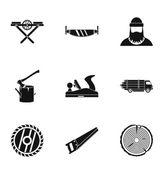 Sawing icons set simple style vector