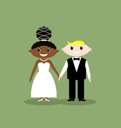 wedding couple african american bride vector image
