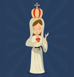 Virgin mary sacred immaculate heart religion vector