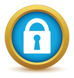 Gold lock icon vector