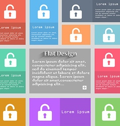 Open padlock icon sign set of multicolored buttons vector