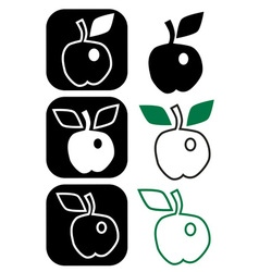 Apple with two and one leaf vector