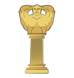 Torso bodybuilder on column pedestal classic vector