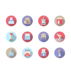Fundraiser flat color icons set vector