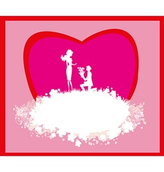 Proposal wedding - couple silhouette card vector