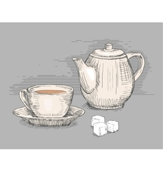 Hand drawn teapot with cup of tea vector