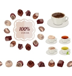 Different chocolate candies and cups of tea and vector