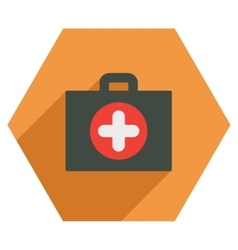 First aid case flat hexagon icon with long shadow vector