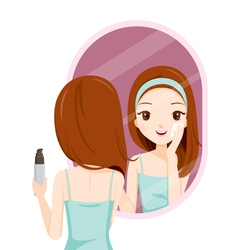 Girl scrubbing her face and see herself in mirror vector