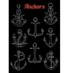Sketch of admiralty anchors with rope and wheel vector