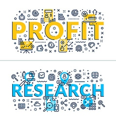 Profit and research headings titles horizontal vector