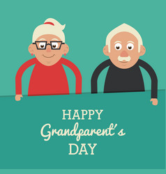 Aquamarine color card with text happy grandparents vector
