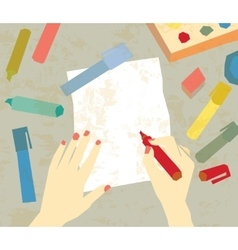 Art drawing hands empty paper vector image