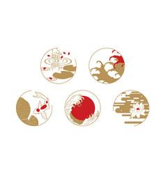 asian design elements water symbols vector image