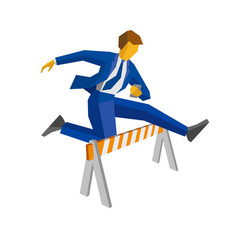 businessman with smartphone jump over road barrier vector image