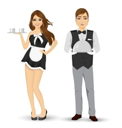 butler holding silver tray and maid serving coffee vector image vector image