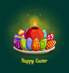 Card with easter eggs and candle vector