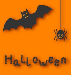 Cartoon bat and spider on orange background vector image